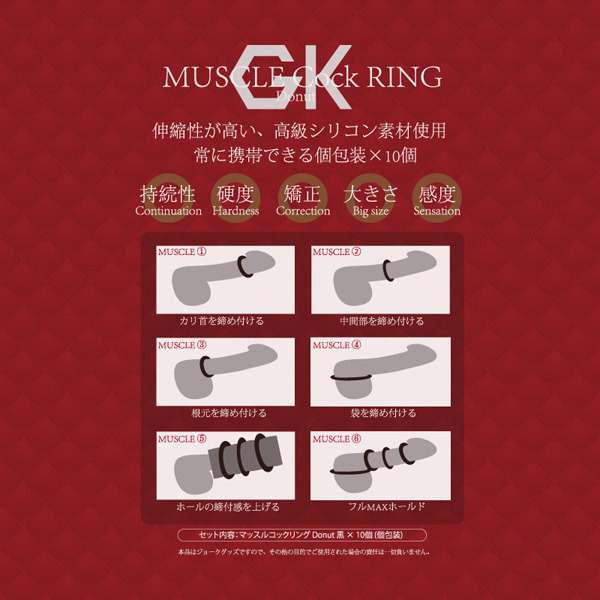 Cat Punch MUSCLE Cock RING (Donut) 10個入り